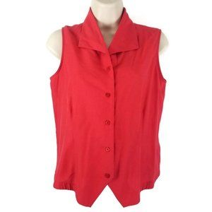 Size Small Scarlet Sleeveless Button Down Shirt